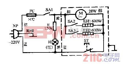 雅乐牌FB-12A冷暖风机电路图.gif