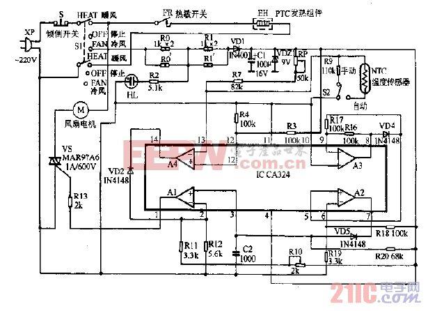蚬华PX-2000冷暖风机电路图.gif