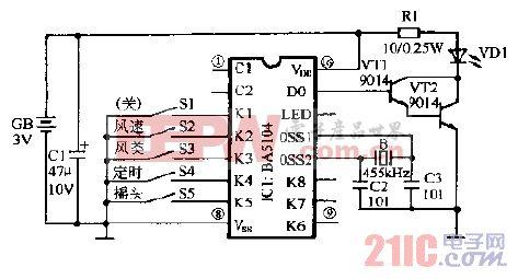 格力FBI-40B1电脑式遥控壁扇遥控器电路图.gif