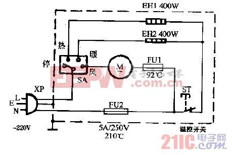 美力ZY-800冷暖风机电路图