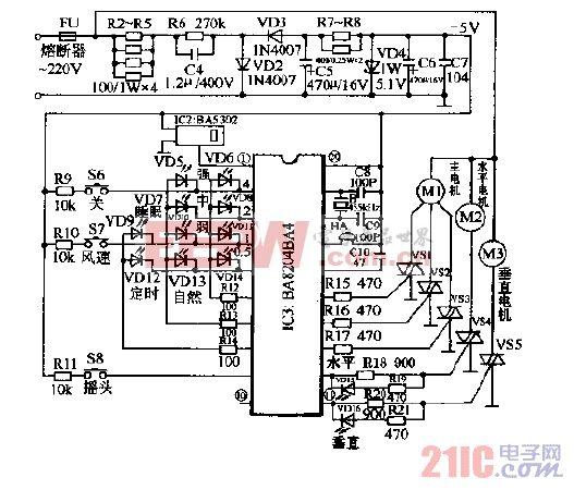 格力FBI-40B1电脑式遥控壁扇接收器电路图.gif