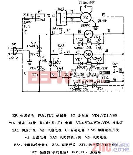 高賓牌LP-12型冷暖空調扇電路圖