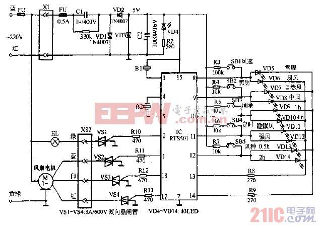 长城FS38-40电脑控制落地扇电路图.gif
