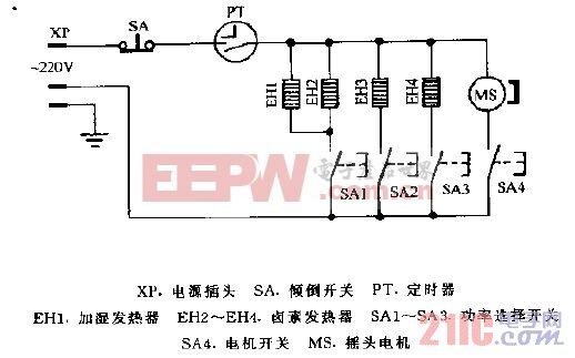 华生NSB-120增湿卤素电暖器电路图.gif