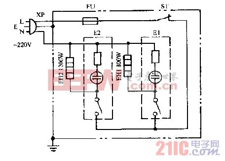 豪峰NDS-20A充油式电暖器电路图.gif
