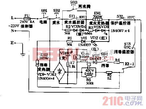 永年QB-8,QB-8A多功能电子饮水器电路图.gif