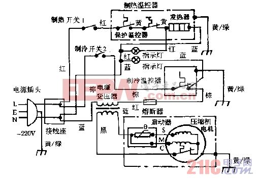 万宝YBR4-6,YBR4-6A冰热饮水机电路图之一.gif