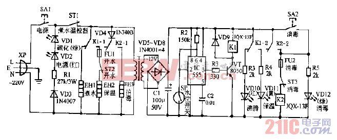 三禾DAF-98B全自动电子饮水器电路图.gif