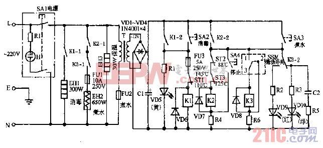 岭南牌PDGZ-65,30全自动电子饮水器电路图.gif