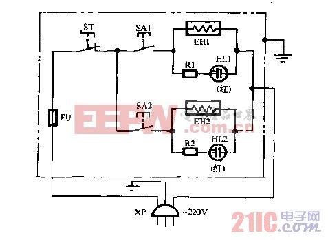 力特DFY-20,DFY-30充油式电暖器电路图