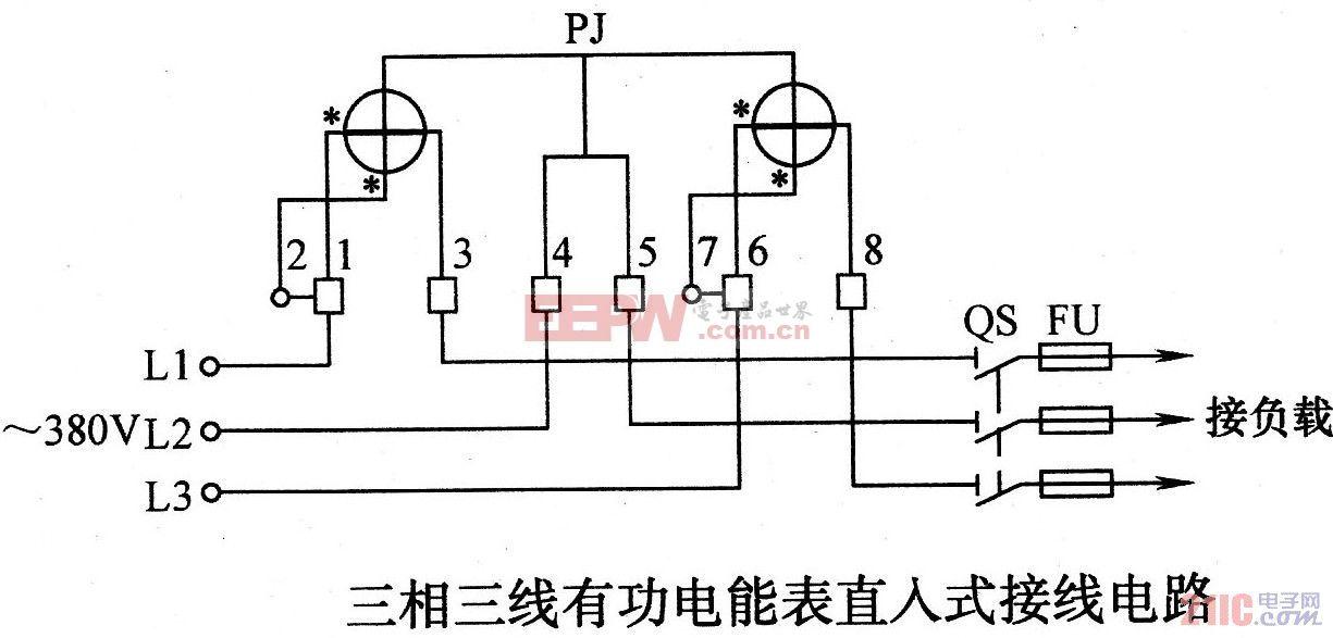 三相三线有功电能表直入式接线电