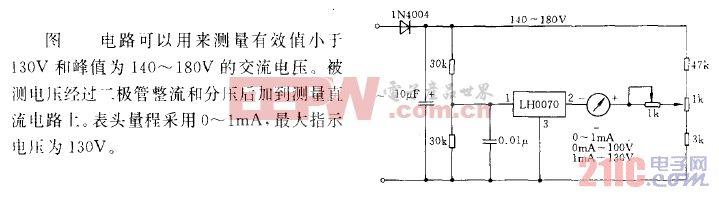 具有宽刻度范围的甲流电压表电路.gif