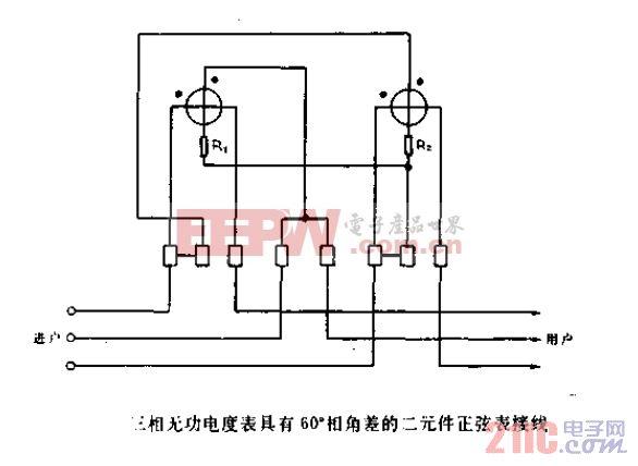 三相无功电度表具有60度相角差的二元件正弦表接线.gif
