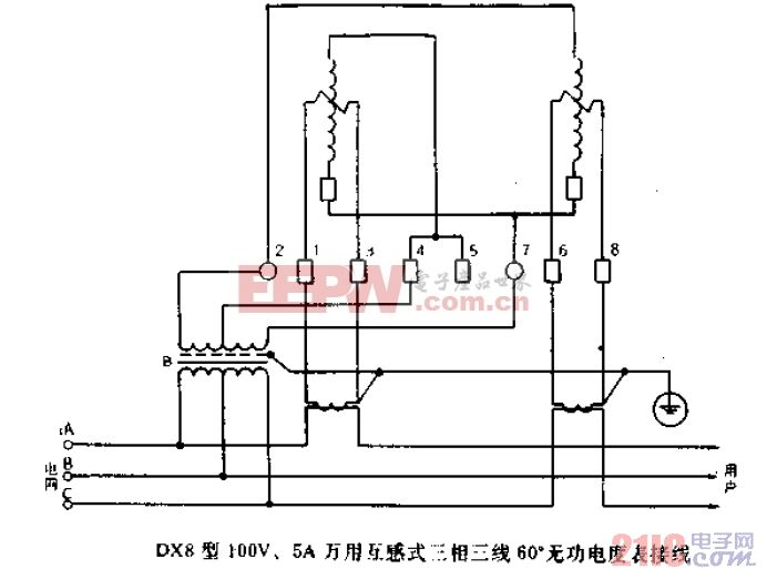DX8型100V、5A万用互感 式三相三线60度无功电度表接线.gif