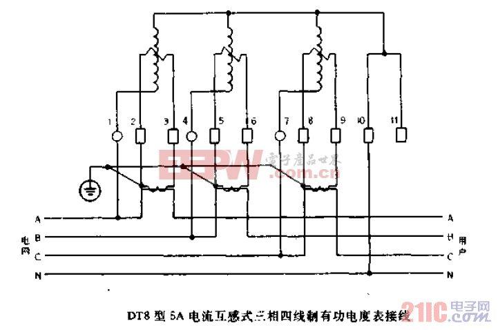 DT8型5A电流互感式三相四线制有功电度表接线.gif
