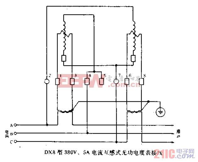 DX8型380V、5A万用电流互感式无功电度表接线.gif