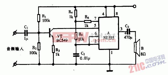 巧用NE555作音频功率放大器2电路图