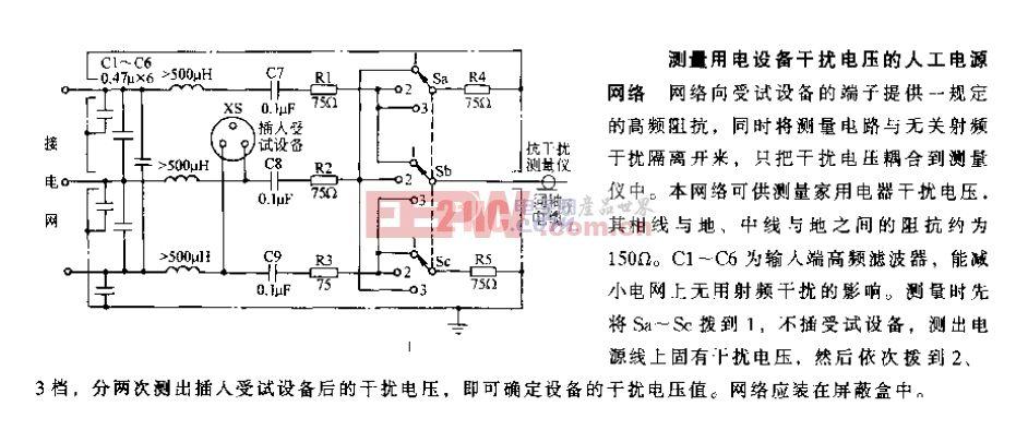 测量用电设备干扰电压的人工电源网络.gif