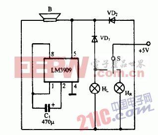 巧用LM3909作摩托车闪光讯响器电路图