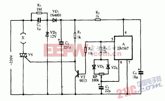 巧用LM567作电热器件调温节电器电路图