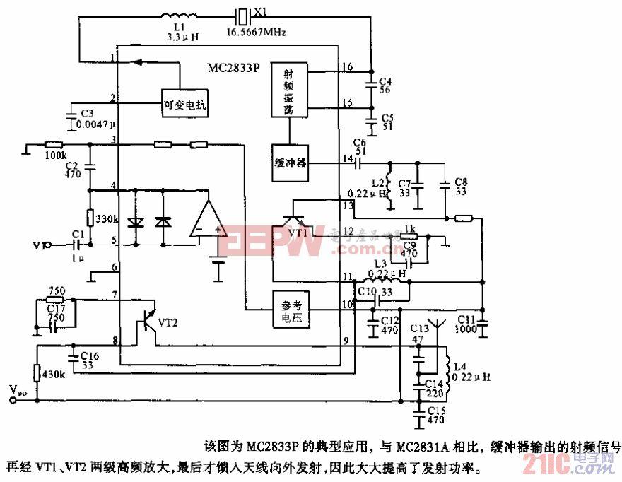 MC2833P 调频发射电路