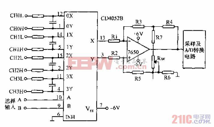 4052B用于对称输入多路传输系统
