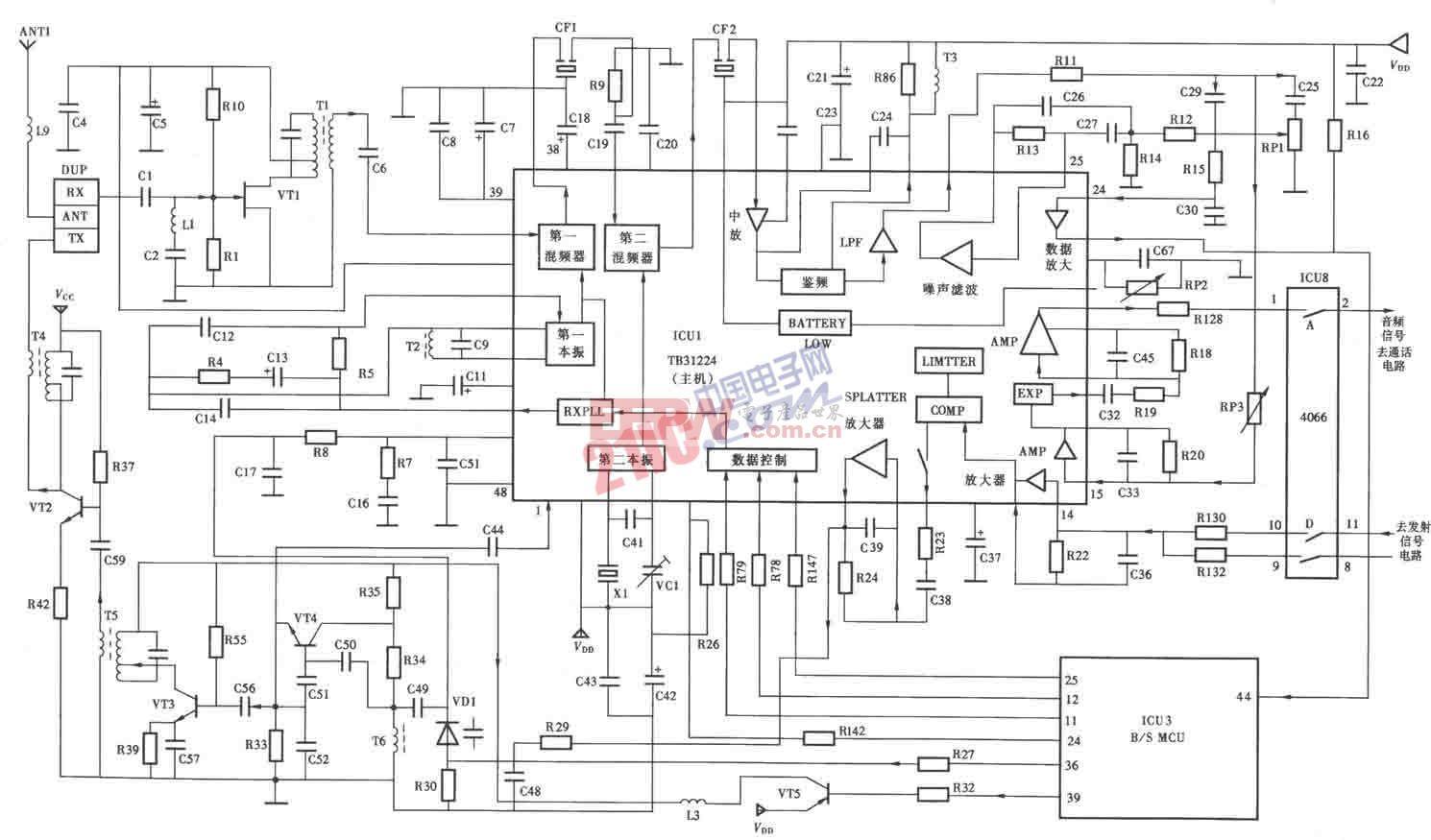 天时达HW838(4)P/ISD?LED型无绳电话机主机射频电路图