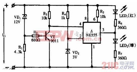 NE555作直流电压监视器电路图.jpg