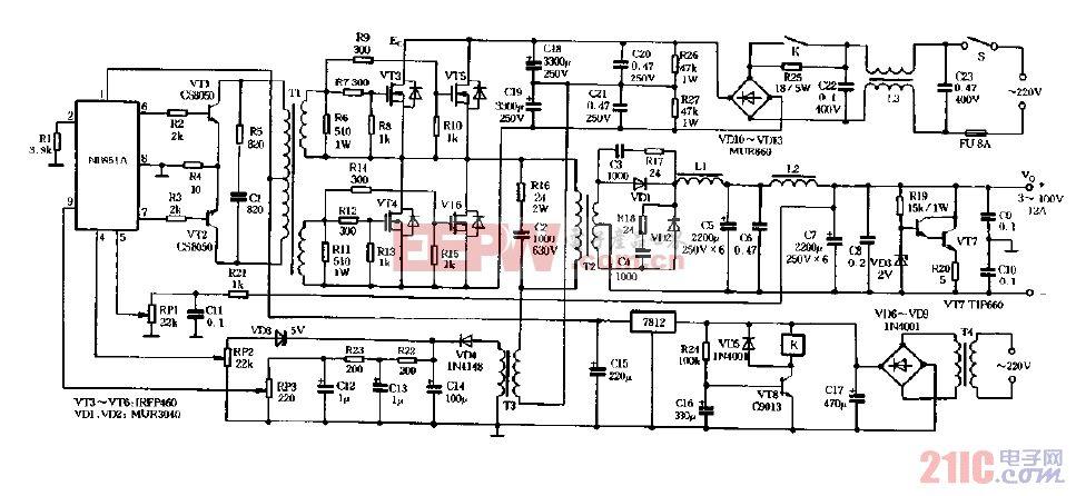 NB-951A构成的大功率可调式直流稳压电源