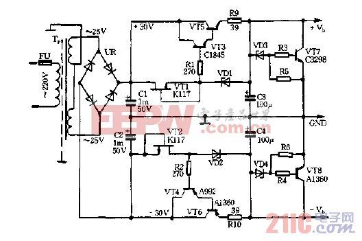 稳流,稳压式晶体管放大器电源电路图.gif