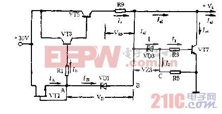 稳流,稳压式晶体管放大器电源的稳压电路图.gif