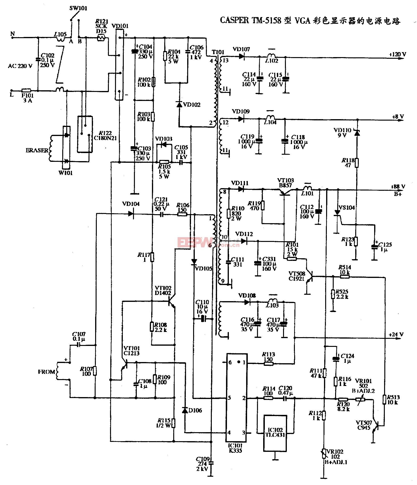 CASPER TM-5158 型VGA彩色显示器电源电路.gif
