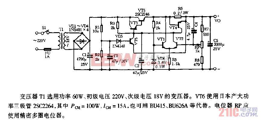 MC3346制作的高性能直流稳压电源电路图.gif
