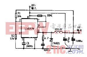 LM2579用作降压的稳压器电路图.gif