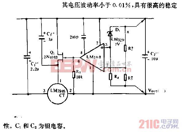 高稳定性1A稳压器电路.gif