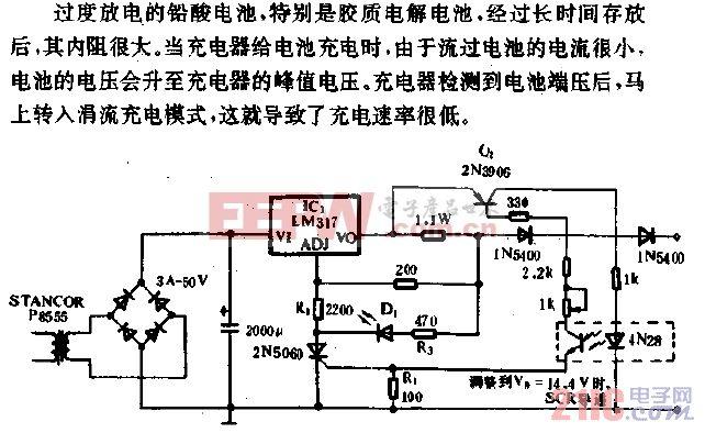 能恢复过度放电电池活力的充电器电路.gif
