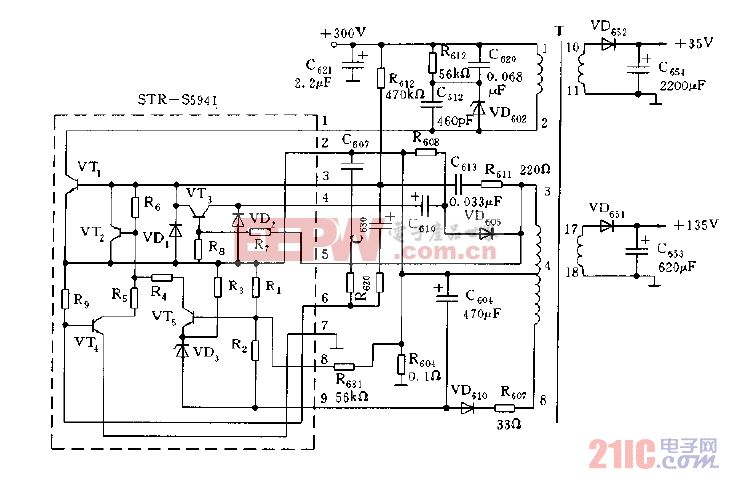 STR-S5941构成的开关电源电路图.gif