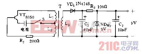 适用于万用表中的直流变换器电路图d.gif