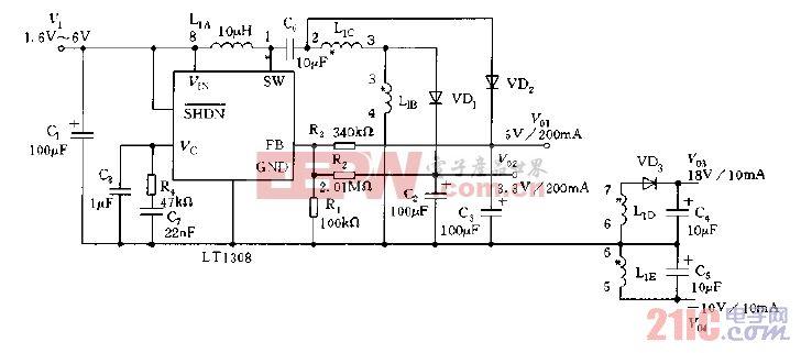 采用LT1308构成的数字相机的多路电源电路图
