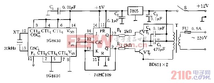 12V直流电压变成交流50HZ,220V电压的DC,AC变换器电路图.gif