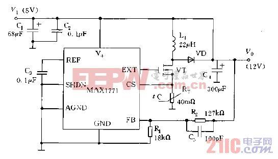 12V的MAX1771的非自举模式工作电路图.gif