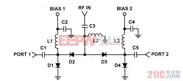 典型单刀双掷(SPDT)PF开关电路图
