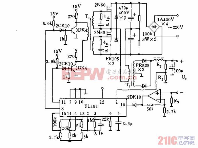 用TL494构成的板桥式双端开关电源电路.gif