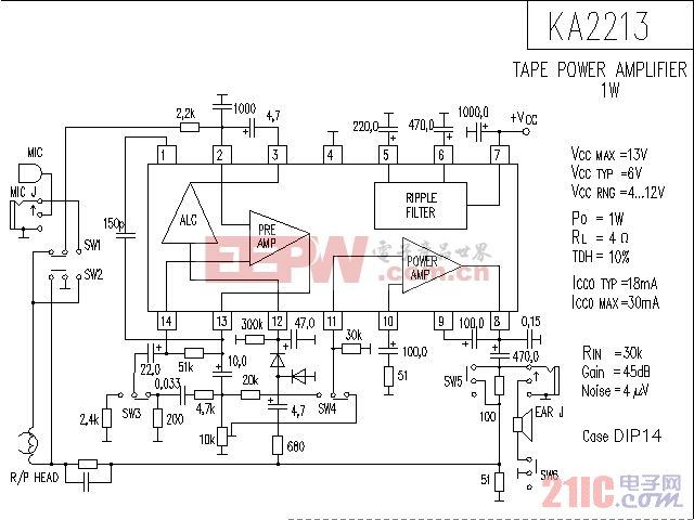 KA2213音响IC电路.gif