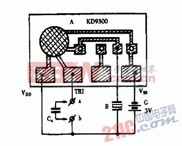 巧用kd9300作简易小电容测试器电路图