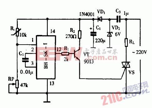 巧用BH-SK-I作温控式自动化霜器电路图