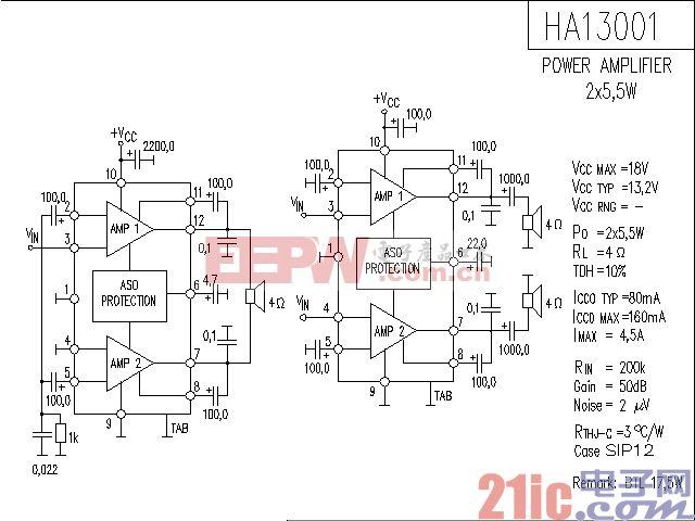 HA13001功率放大器电路图