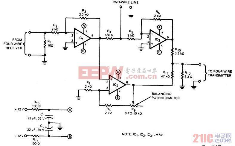 音频 四线 变频 双线/该变频电路的四线制传输线的二分之一处的输入和输出之间的隔离...