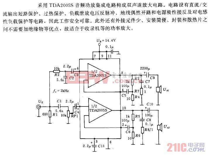 采用TDA2005S的20W(10W×2)音频功率放大电路.gif