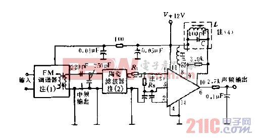 使用单谐振频率检测线圈的FM调谐器电路图.gif